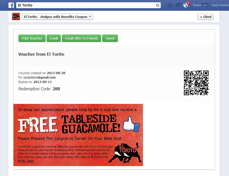 Διαγωνισμός Facebook με εκπτωτικά κουπόνια, Voucher Page