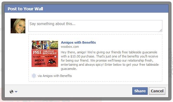Διαγωνισμός facebook με εκπτωτικά κουπόνια, Share dialog popup