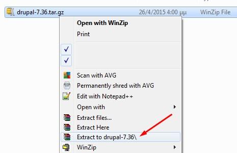Κάντε αποσυμπίεση το αρχείο Drupal που κατεβάσατε
